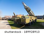 "Small photo of TOGLIATTI, RUSSIA - MAY 2, 2013: Launcher with rocket missile complex ""Elbrus"" (Scud B) in Togliatti Technical museum. Scud is a series of tactical ballistic missiles developed by the Soviet Union"