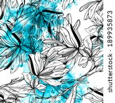 monochrome graphic flowers with ... | Shutterstock . vector #189935873