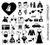 wedding icons set. illustration ... | Shutterstock .eps vector #189944267
