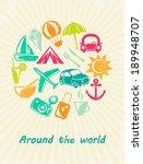 traveling card. retro travel... | Shutterstock .eps vector #189948707