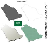 Blank detailed outline maps of Saudi Arabia - vector version