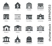 Government building icons set of police  museum library theater isolated vector illustration - stock vector