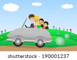 family in a car   Shutterstock .eps vector #190001237