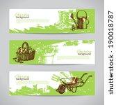 Set of sketch gardening banner templates. Hand drawn vintage illustrations
