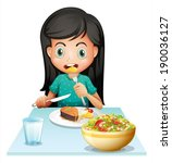illustration of a girl eating... | Shutterstock .eps vector #190036127