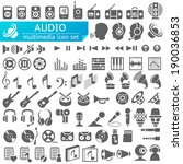 audio multimedia icon set | Shutterstock .eps vector #190036853