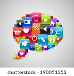 glass button icon speech bubble ... | Shutterstock .eps vector #190051253
