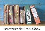 messy file folders  fictional...   Shutterstock . vector #190055567