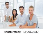 casual business team smiling at ... | Shutterstock . vector #190060637
