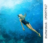 woman swimming underwater ... | Shutterstock . vector #190097417