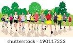 running people in the park.... | Shutterstock .eps vector #190117223
