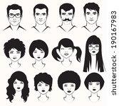 eye lips and hair  men and... | Shutterstock .eps vector #190167983