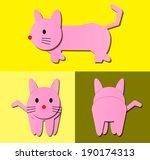 cat cartoon pattern with side... | Shutterstock .eps vector #190174313