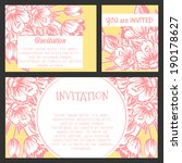 set of invitations with floral... | Shutterstock .eps vector #190178627