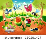 bugs   1 snail with background. ... | Shutterstock . vector #190201427