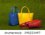 Red  Yellow And Blue Purses On...