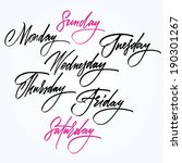 days of the week. calligraphy. | Shutterstock .eps vector #190301267
