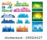 big set of vector city skyline    Shutterstock .eps vector #190324127