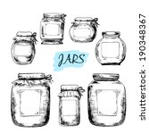 Jars With Labels. Set Of Hand...