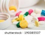 various pills background wite... | Shutterstock . vector #190385537