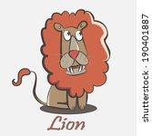 redhead cartoon lion wondering... | Shutterstock .eps vector #190401887