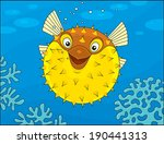 puffer fish swimming on a coral ... | Shutterstock .eps vector #190441313