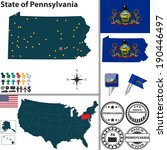 Vector set of Pennsylvania state with flag and icons on white background