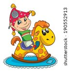 boy on toy horse  vector... | Shutterstock .eps vector #190552913