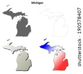Michigan outline map set - vector version
