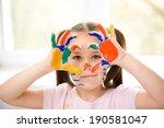 portrait of a cute cheerful... | Shutterstock . vector #190581047