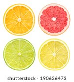 isolated citrus fruits. slices... | Shutterstock . vector #190626473