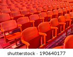 rows of red metal chairs in... | Shutterstock . vector #190640177