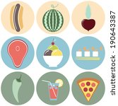 colorful food icons. fruit and... | Shutterstock .eps vector #190643387