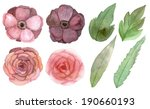 set of flowers and leaves... | Shutterstock . vector #190660193