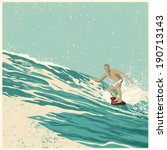 surfer and big wave. vector... | Shutterstock .eps vector #190713143