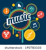 music design over blue... | Shutterstock .eps vector #190783103