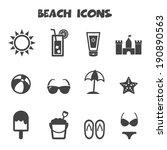 beach icons  mono vector symbols   Shutterstock .eps vector #190890563