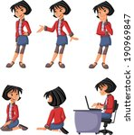 cartoon girl on different poses  | Shutterstock .eps vector #190969847