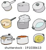 series of kitchen pots over... | Shutterstock .eps vector #191038613