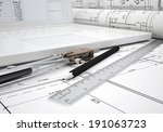 scrolls architectural drawings... | Shutterstock . vector #191063723