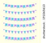 cute bunting flags set purple... | Shutterstock .eps vector #191065613