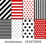 Jumbo and Small Polka Dots and Diagonal Stripes Patterns in Red, Black and White color. Pattern Swatches made with Global Colors. Vector background
