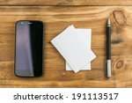 business card with pen and... | Shutterstock . vector #191113517