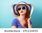 redhead girl with sunglasses... | Shutterstock . vector #191114453