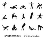exercise stretching icons   Shutterstock .eps vector #191129663