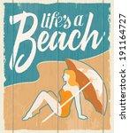 vintage retro beach poster  ... | Shutterstock .eps vector #191164727