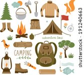 Set of camping equipment icon set