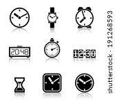 set of vector icons of time ...