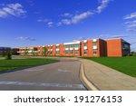 modern red brick school building | Shutterstock . vector #191276153