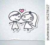 hand drawn wedding couple | Shutterstock . vector #191278127